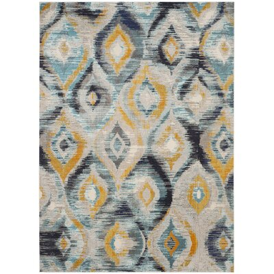 Goose Point Blue Area Rug Rug Size: Rectangle 8' x 11'