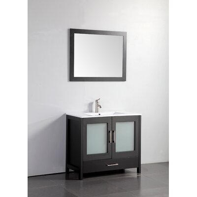 Larosa 36 Single Sink Bathroom Vanity Set with Mirror Base Finish: Espresso