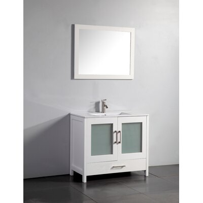 Larosa 48 Single Sink Bathroom Vanity Set with Mirror Base Finish: White