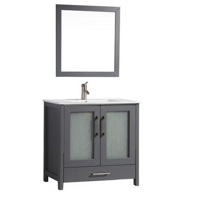 Larosa 48 Single Sink Bathroom Vanity Set with Mirror Base Finish: Gray