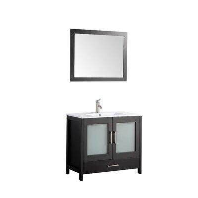 Larosa 48 Single Sink Bathroom Vanity Set with Mirror Base Finish: Espresso