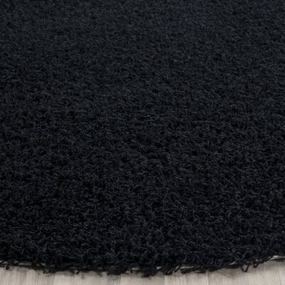Holliday Black Area Rug Rug Size: Round 7