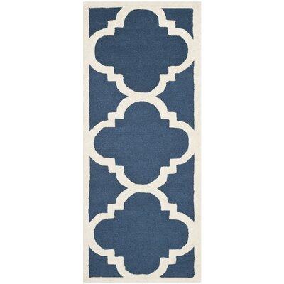 Charlenne H-Tufted Navy Area Rug Rug Size: Runner 26 x 10