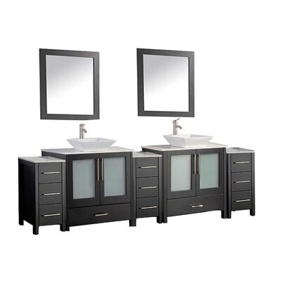 Larosa 96 Double Sink Bathroom Vanity Set with Mirror Finish: Espresso