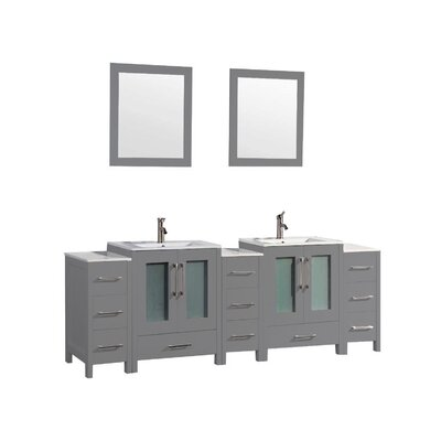 Larosa 96 Double Sink Bathroom Vanity Set with Mirror Finish: Gray