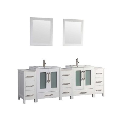 Larosa 84 Double Sink Bathroom Vanity Set with Mirror Color: White