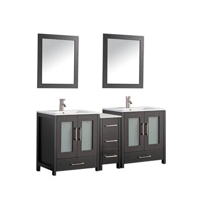 Larosa 60 Double Sink Bathroom Vanity Set with Mirror Base Finish: Espresso