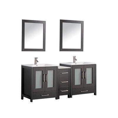 Larosa 72 Double Sink Bathroom Vanity Set with Mirror Base Finish: Espresso