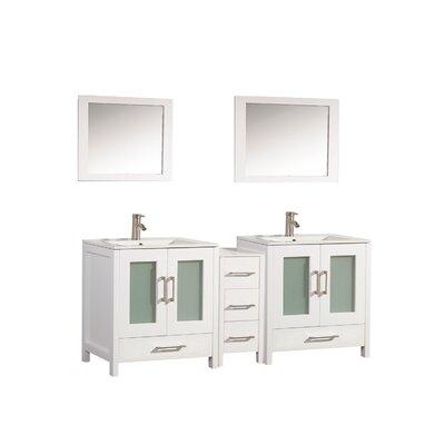 Larosa 72 Double Sink Bathroom Vanity Set with Mirror Base Finish: White