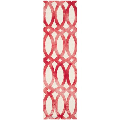 Edie Ivory/Red Area Rug Rug Size: Runner 23 x 8