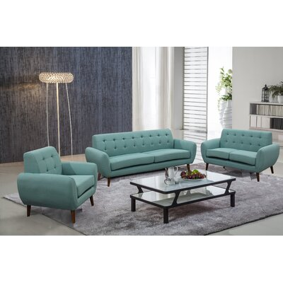Diara 3 Piece Living Room Set Upholstery: Teal