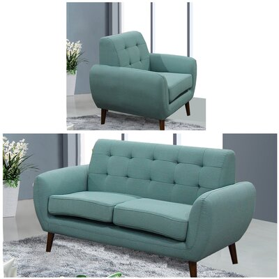 Diara 2 Piece Living Room Set Upholstery: Teal