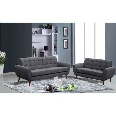 Diara 2 Piece Living Room Set Upholstery: Dark Gray
