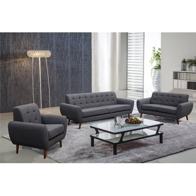 Diara 3 Piece Living Room Set Upholstery: Dark Gray