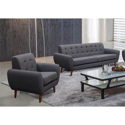 Philip 2 Piece Living Room Set Upholstery: Dark Gray