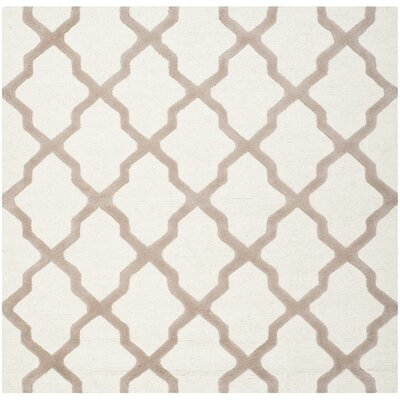 Charlenne Hand-Tufted Wool Ivory/Beige Area Rug Rug Size: Square 6