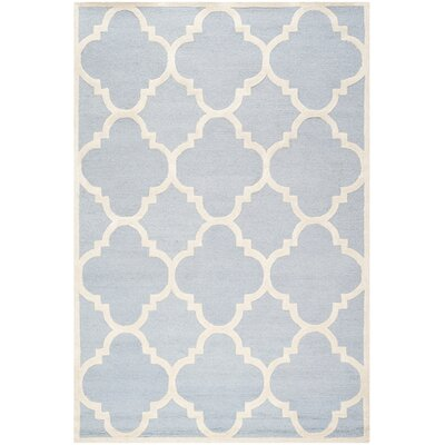 Charlenne Hand-Tufted Light Blue/Ivory Area Rug Rug Size: Rectangle 6 x 9