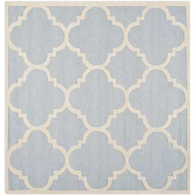 Charlenne Hand-Tufted Light Blue/Ivory Area Rug Rug Size: Rectangle 6 x 6