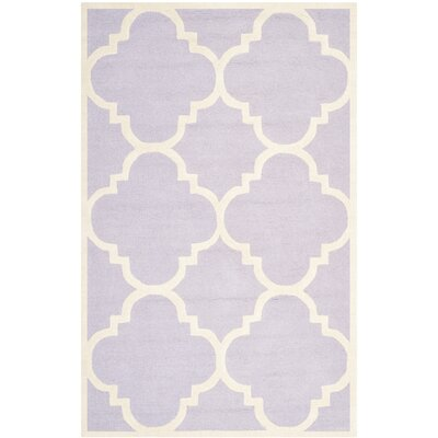 Charlenne Wool Lavander / Ivory Area Rug Rug Size: Rectangle 5 x 8