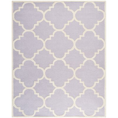 Charlenne Wool Lavander / Ivory Area Rug Rug Size: Rectangle 8 x 10