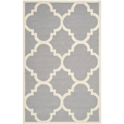 Charlenne Hand-Tufted Wool Silver/Ivory Area Rug Rug Size: Rectangle 5 x 8