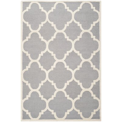 Charlenne Hand-Tufted Wool Silver/Ivory Area Rug Rug Size: Rectangle 6 x 9