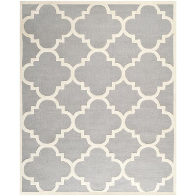 Charlenne Hand-Tufted Wool Silver/Ivory Area Rug Rug Size: Rectangle 8 x 10