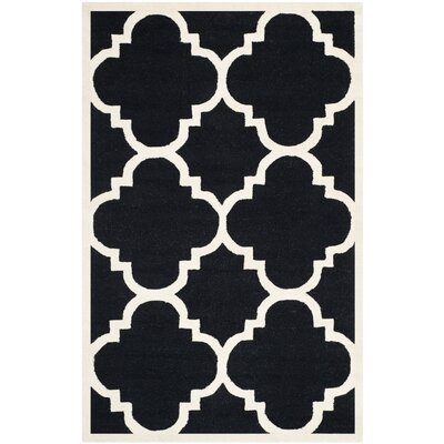 Rodgers Hand-Tufted Black/Ivory Area Rug Rug Size: Rectangle 5 x 8