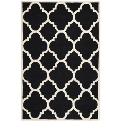 Charlenne Hand-Tufted Black/Ivory Area Rug Rug Size: Rectangle 6 x 9
