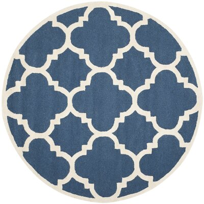 Charlenne H-Tufted Navy Area Rug Rug Size: Round 6