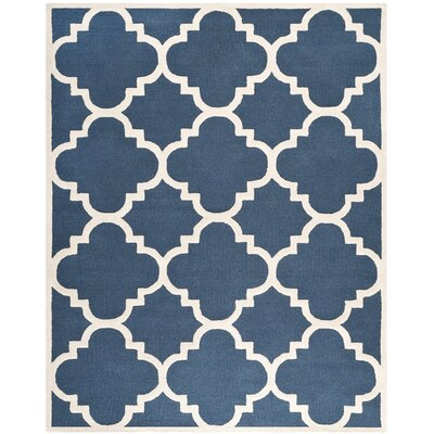 Charlenne Hand-Tufted Navy/Ivory Area Rug Rug Size: Rectangle 8 x 10