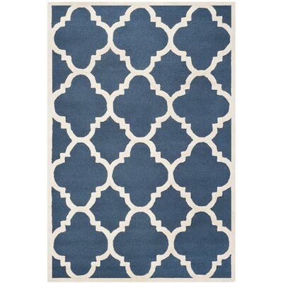 Charlenne Hand-Tufted Navy/Ivory Area Rug Rug Size: Rectangle 6 x 9