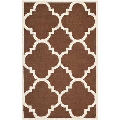 Charlenne Wool Dark Brown/Ivory Area Rug Rug Size: Rectangle 5 x 8