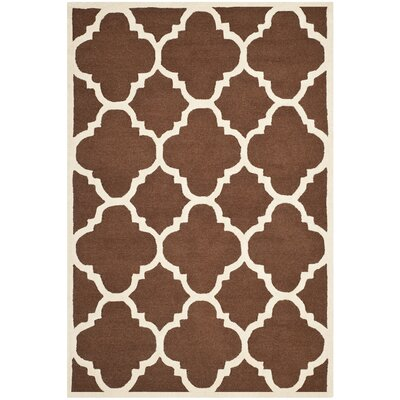Charlenne Wool Dark Brown/Ivory Area Rug Rug Size: Rectangle 6 x 9