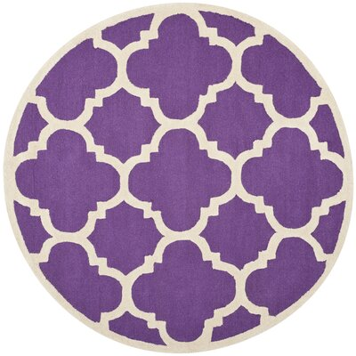 Charlenne Wool Purple/Ivory Area Rug Rug Size: Round 6
