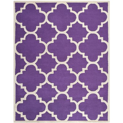 Charlenne Wool Purple/Ivory Area Rug Rug Size: Rectangle 8 x 10
