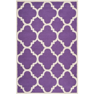 Charlenne Wool Purple/Ivory Area Rug Rug Size: Rectangle 6 x 9