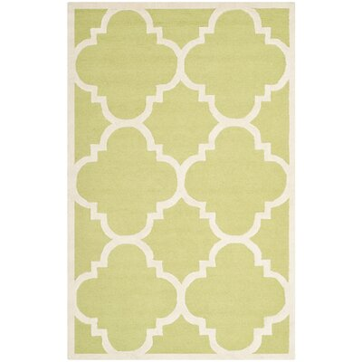 Charlenne Wool Green / Ivory Area Rug Rug Size: Rectangle 5 x 8
