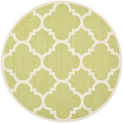 Charlenne Wool Green / Ivory Area Rug Rug Size: Round 6