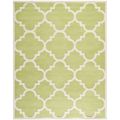 Charlenne Wool Green / Ivory Area Rug Rug Size: Rectangle 8 x 10