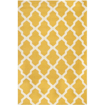 Charlenne Tufted/Hooked Wool Gold & Ivory Indoor Area Rug Rug Size: Rectangle 6 x 9