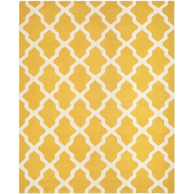 Charlenne Tufted/Hooked Wool Gold & Ivory Indoor Area Rug Rug Size: Rectangle 8 x 10