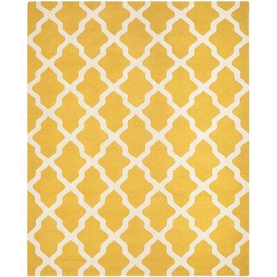 Charlenne Gold & Ivory Area Rug Rug Size: Rectangle 8 x 10