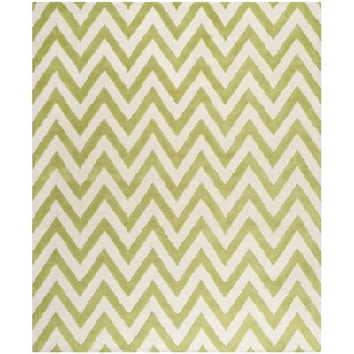 Charlenne Hand-Tufted Green/Ivory Area Rug Rug Size: Rectangle 8 x 10