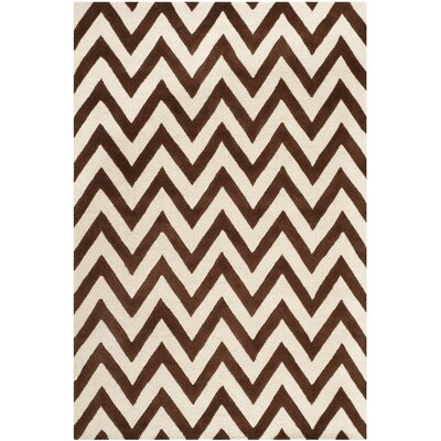 Charlenne Hand-Tufted Dark Brown/Ivory Area Rug Rug Size: Rectangle 6 x 9
