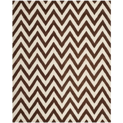 Charlenne Hand-Tufted Dark Brown/Ivory Area Rug Rug Size: Rectangle 8 x 10