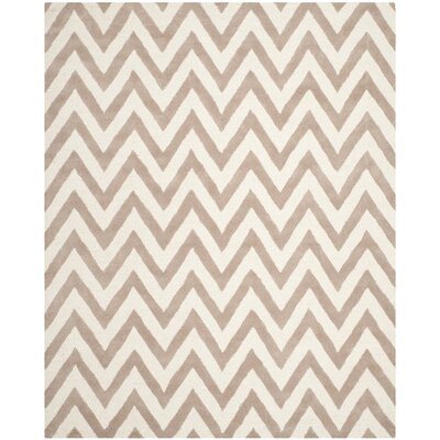 Charlenne Hand-Tufted Wool Beige/Brown Area Rug Rug Size: Rectangle 8 x 10