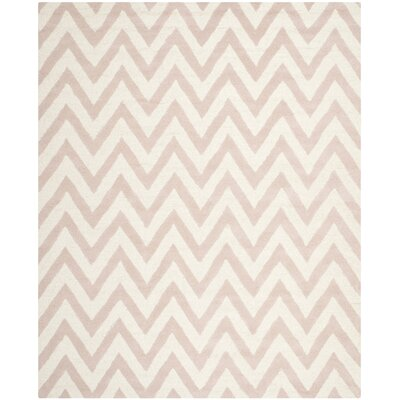 Charlenne Hand-Tufted Light Pink/Ivory Area Rug Rug Size: Rectangle 8 x 10