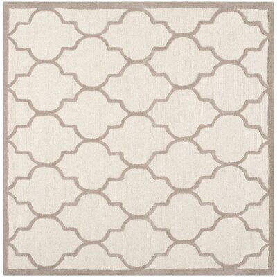 Charlenne Hand-Tufted Ivory/Beige Area Rug Rug Size: Square 6