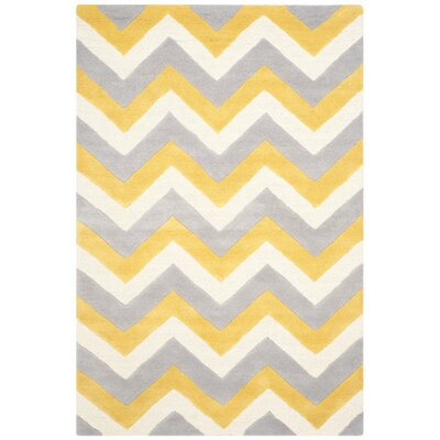 Charlenne Grey & Gold Area Rug Rug Size: Rectangle 5 x 8